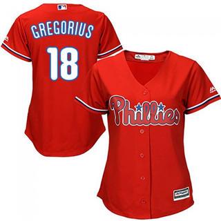 Women's Phillies #18 Didi Gregorius Red Alternate Stitched Baseball Jersey