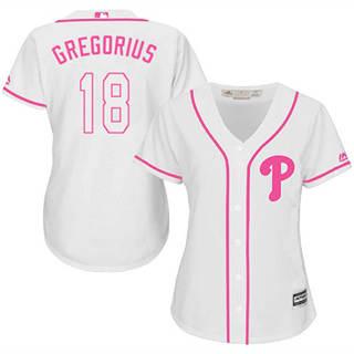 Women's Phillies #18 Didi Gregorius White Pink Fashion Stitched Baseball Jersey