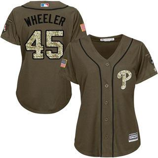 Women's Phillies #45 Zack Wheeler Green Salute to Service Stitched Baseball Jersey