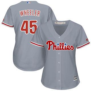 Women's Phillies #45 Zack Wheeler Grey Road Stitched Baseball Jersey