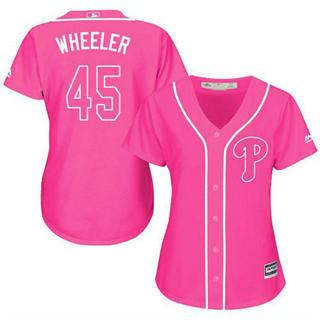 Women's Phillies #45 Zack Wheeler Pink Fashion Stitched Baseball Jersey