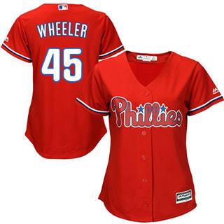 Women's Phillies #45 Zack Wheeler Red Alternate Stitched Baseball Jersey