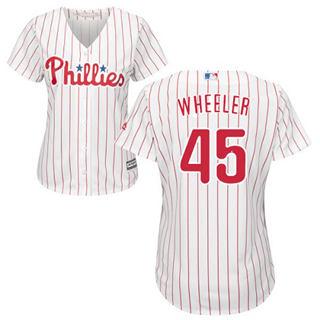 Women's Phillies #45 Zack Wheeler White(Red Strip) Home Stitched Baseball Jersey