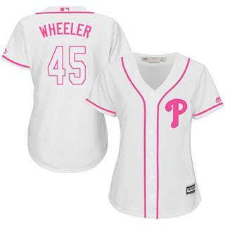 Women's Phillies #45 Zack Wheeler White Pink Fashion Stitched Baseball Jersey