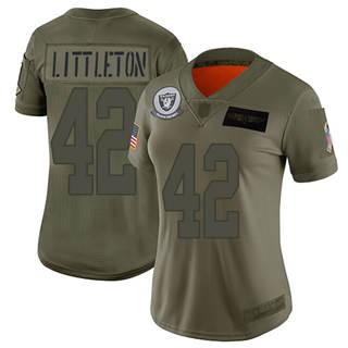 Women's Raiders #42 Cory Littleton Camo Stitched Football Limited 2019 Salute To Service Jersey