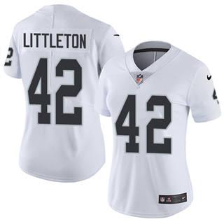 Women's Raiders #42 Cory Littleton White Stitched Football Vapor Untouchable Limited Jersey