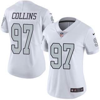 Women's Raiders #97 Maliek Collins White Stitched Football Limited Rush Jersey