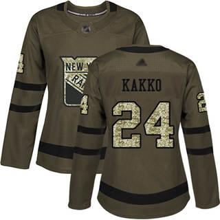 Women's Rangers #24 Kaapo Kakko Green Salute to Service Stitched Hockey Jersey