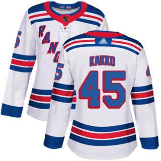 Women's Rangers #45 Kaapo Kakko White Road Authentic Stitched Hockey Jersey