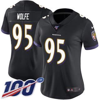 Women's Ravens #95 Derek Wolfe Black Alternate Stitched Football 100th Season Vapor Untouchable Limited Jersey