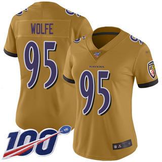 Women's Ravens #95 Derek Wolfe Gold Stitched Football Limited Inverted Legend 100th Season Jersey