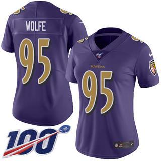 Women's Ravens #95 Derek Wolfe Purple Stitched Football Limited Rush 100th Season Jersey