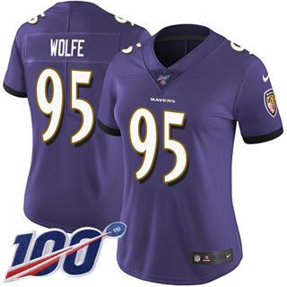 Women's Ravens #95 Derek Wolfe Purple Team Color Stitched Football 100th Season Vapor Untouchable Limited Jersey
