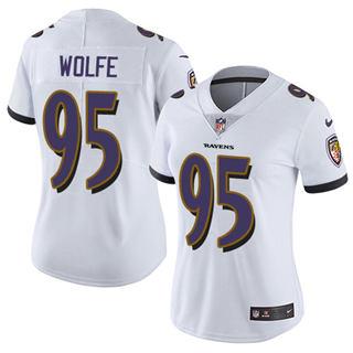Women's Ravens #95 Derek Wolfe White Stitched Football Vapor Untouchable Limited Jersey