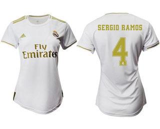 Women's Real Madrid #4 Sergio Ramos Home Soccer Club Jersey