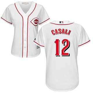 Women's Reds #12 Curt Casali White Home Stitched Baseball Jersey