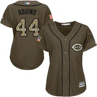 Women's Reds #44 Aristides Aquino Green Salute to Service Stitched Baseball Jersey