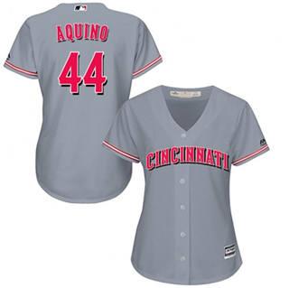 Women's Reds #44 Aristides Aquino Grey Road Stitched Baseball Jersey
