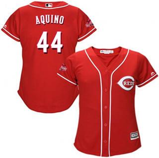 Women's Reds #44 Aristides Aquino Red Alternate Stitched Baseball Jersey