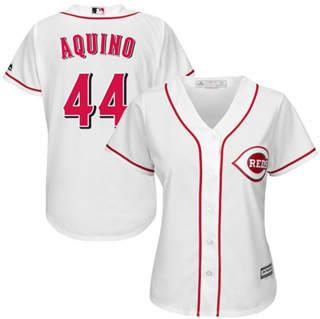 Women's Reds #44 Aristides Aquino White Home Stitched Baseball Jersey