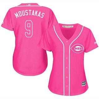Women's Reds #9 Mike Moustakas Pink Fashion Stitched Baseball Jersey