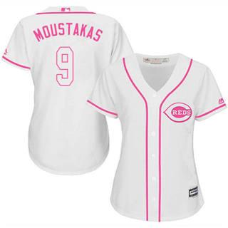 Women's Reds #9 Mike Moustakas White Pink Fashion Stitched Baseball Jersey
