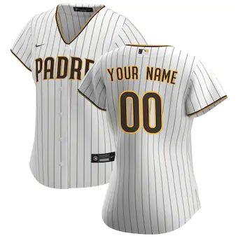 Women's San Diego Padres 2020 Home Replica Custom Jersey - White Brown