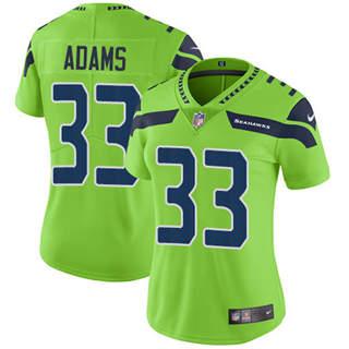 Women's Seahawks #33 Jamal Adams Green Stitched Football Limited Rush Jersey
