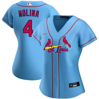 Women's St. Louis Cardinals #4 Yadier Molina Alternate 2020 Baseball Player Jersey Light Blue