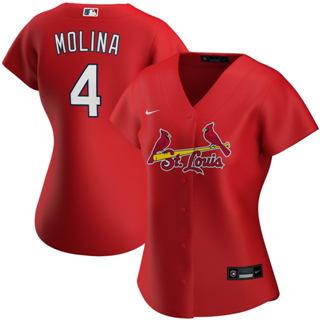 Women's St. Louis Cardinals #4 Yadier Molina Alternate 2020 Baseball Player Jersey Red