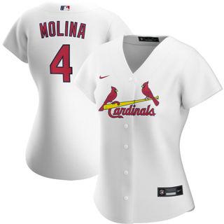 Women's St. Louis Cardinals #4 Yadier Molina Home 2020 Baseball Player Jersey White