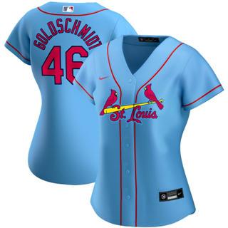 Women's St. Louis Cardinals #46 Paul Goldschmidt Alternate 2020 Baseball Player Jersey Light Blue
