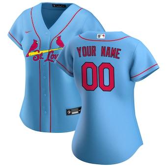 Women's St. Louis Cardinals 2020 Alternate Replica Custom Jersey - Light Blue