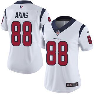 Women's Texans #88 Jordan Akins White Stitched Football Vapor Untouchable Limited Jersey