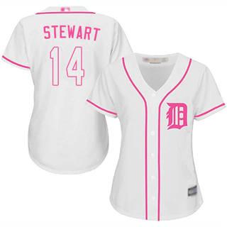 Women's Tigers #14 Christin Stewart White Pink Fashion Stitched Baseball Jersey