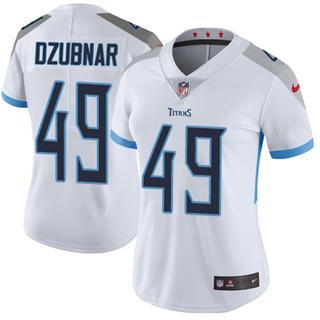 Women's Titans #49 Nick Dzubnar White Stitched Football Vapor Untouchable Limited Jersey