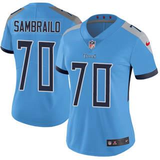 Women's Titans #70 Ty Sambrailo Light Blue Alternate Stitched Football Vapor Untouchable Limited Jersey