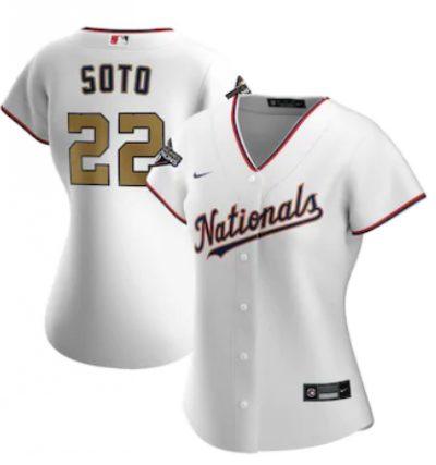 Women's Washington Nationals #22 Juan Soto White Alternate 2020 Gold Program Baseball Player Jersey