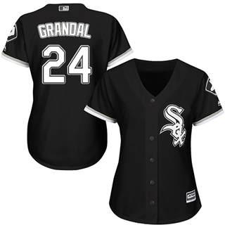 Women's White Sox #24 Yasmani Grandal Black Alternate Stitched Baseball Jersey