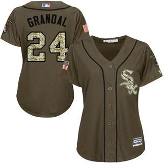 Women's White Sox #24 Yasmani Grandal Green Salute to Service Stitched Baseball Jersey