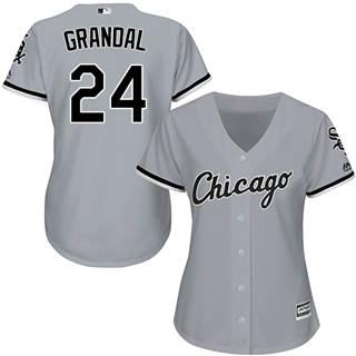 Women's White Sox #24 Yasmani Grandal Grey Road Stitched Baseball Jersey