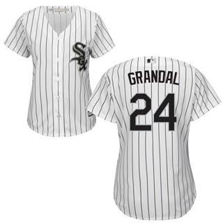 Women's White Sox #24 Yasmani Grandal White(Black Strip) Home Stitched Baseball Jersey