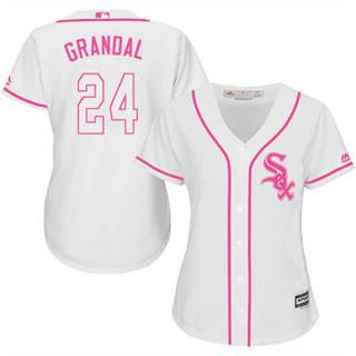 Women's White Sox #24 Yasmani Grandal White Pink Fashion Stitched Baseball Jersey