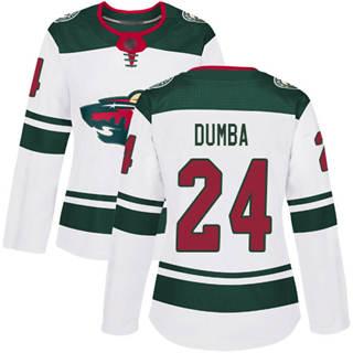 Women's Wild #24 Matt Dumba White Road Authentic Stitched Hockey Jersey