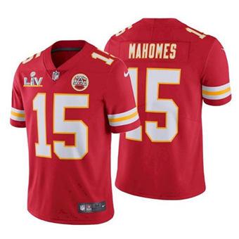 Women Kansas City Chiefs #15 Patrick Mahomes Red 2021 Super Bowl LV Stitched Football Jersey
