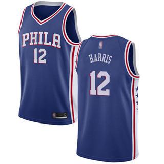 Youth 76ers #12 Tobias Harris Blue Basketball Swingman Icon Edition Jersey