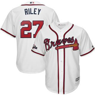 Youth Atlanta Braves #27 Austin Riley 2019 Postseason Official Player Jersey White