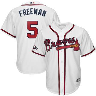 Youth Atlanta Braves #5 Freddie Freeman 2019 Postseason Official Player Jersey White