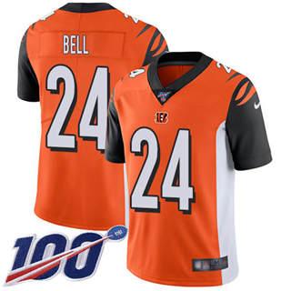 Youth Bengals #24 Vonn Bell Orange Alternate Stitched Football 100th Season Vapor Untouchable Limited Jersey
