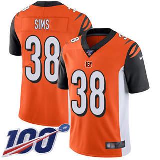 Youth Bengals #38 LeShaun Sims Orange Alternate Stitched Football 100th Season Vapor Untouchable Limited Jersey